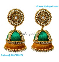 Teal Green Colour - Golden Combination Silk Thread Jhumukka Earrings