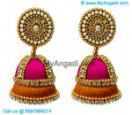 Pink Colour - Golden Combination Silk Thread Jhumukka Earrings