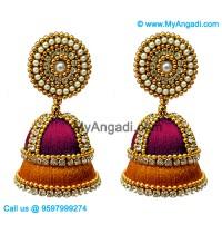 Majenta Colour - Golden Combination Silk Thread Jhumukka Earrings