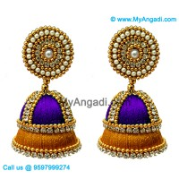 Violet Colour - Golden Combination Silk Thread Jhumukka Earrings