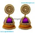 Purple Colour - Golden Combination Silk Thread Jhumukka Earrings