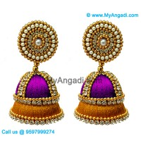 Purple Colour - Golden Combination Silk Thread Jhumukka Earrings