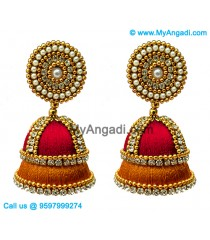 Red Colour - Golden Combination Silk Thread Jhumukka Earrings