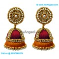 Maroon Colour - Golden Combination Silk Thread Jhumukka Earrings