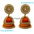Orange Colour - Golden Combination Silk Thread Jhumukka Earrings