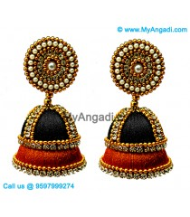 Black colour - Golden Combination Silk Thread Jhumukka Earrings