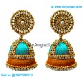 Turquoise Blue Colour - Golden Combination Silk Thread Jhumukka Earrings