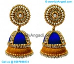 Royal Blue Colour - Golden Combination Silk Thread Jhumukka Earrings
