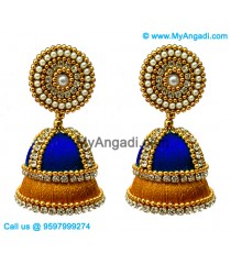 Royal Blue Colour - Golden Combination Silk Thread Jhumukka Earrings