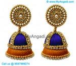 Dark Blue Colour - Golden Combination Silk Thread Jhumukka Earrings