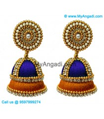Dark Blue Colour - Golden Combination Silk Thread Jhumukka Earrings