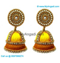 Yellow Colour - Golden Combination Silk Thread Jhumukka Earrings