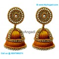 Golden Colour - Golden Combination Silk Thread Jhumukka Earrings