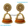 White Colour - Golden Combination Silk Thread Jhumukka Earrings