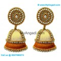 Ivory Colour - Golden Combination Silk Thread Jhumukka Earrings