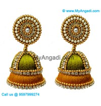Olive Green Colour Silk Thread Jhumukka Earrings