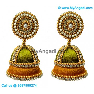 Olive Green Colour Silk Thread Jhumukka Earrings