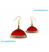 Maroon Colour Silk Thread Jhumukka Earrings