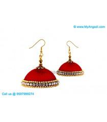 Maroon Colour Silk Thread Jhumukka Earrings