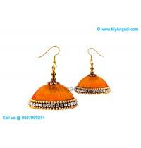 Orange Colour Silk Thread Jhumukka Earrings