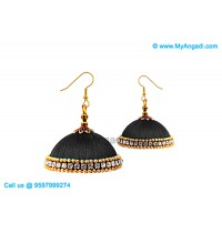 Black Colour Silk Thread Jhumukka Earrings