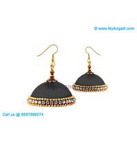 Grey Colour Silk Thread Jhumukka Earrings