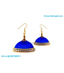 Royal Blue Colour Silk Thread Jhumukka Earrings