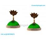Green Colour Silk Thread Jhumukka Earrings