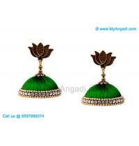 Teal Green Colour Silk Thread Jhumukka Earrings