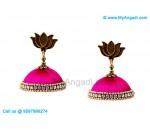 Pink Colour Silk Thread Jhumukka Earrings