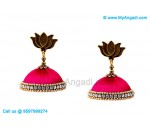 Majenta Colour Silk Thread Jhumukka Earrings