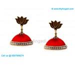 Red Colour Silk Thread Jhumukka Earrings
