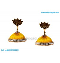 Golden Colour Silk Thread Jhumukka Earrings