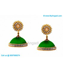 Green Colour Silk Thread Jhumukka Earrings