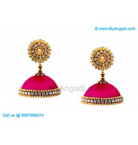 Pink Colour Silk Thread Jhumukka Earrings