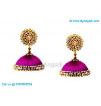 Purple Colour Silk Thread Jhumukka Earrings