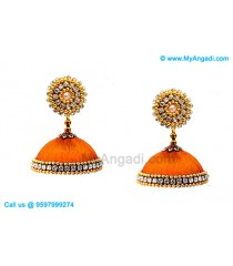 Orange Colour Silk Thread Jhumukka Earrings