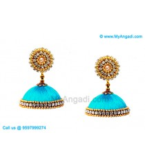 Turquoise Blue Colour Silk Thread Jhumukka Earrings