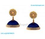 Dark Blue Colour Silk Thread Jhumukka Earrings