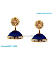 Dark Blue Colour Silk Thread Jhumukka Earrings
