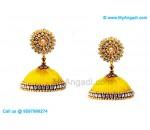 Yellow Colour Silk Thread Jhumukka Earrings