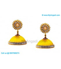 Yellow Colour Silk Thread Jhumukka Earrings