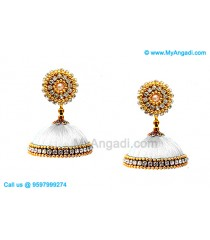 White Colour Silk Thread Jhumukka Earrings