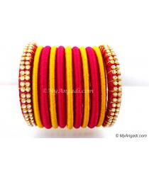 Magenta Colour Silk Thread Bangles