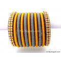 Grey Colour Silk Thread Bangles