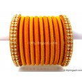 Dark Yellow Colour Silk Thread Bangles