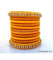 Yellow Colour Silk Thread Bangles