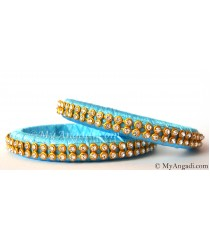 Turquoise Blue Colour Silk Thread Bangles