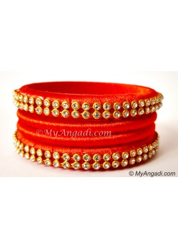 Orange Colour Silk Thread Bangles