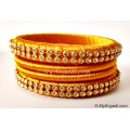 Golden Colour Silk Thread Bangles